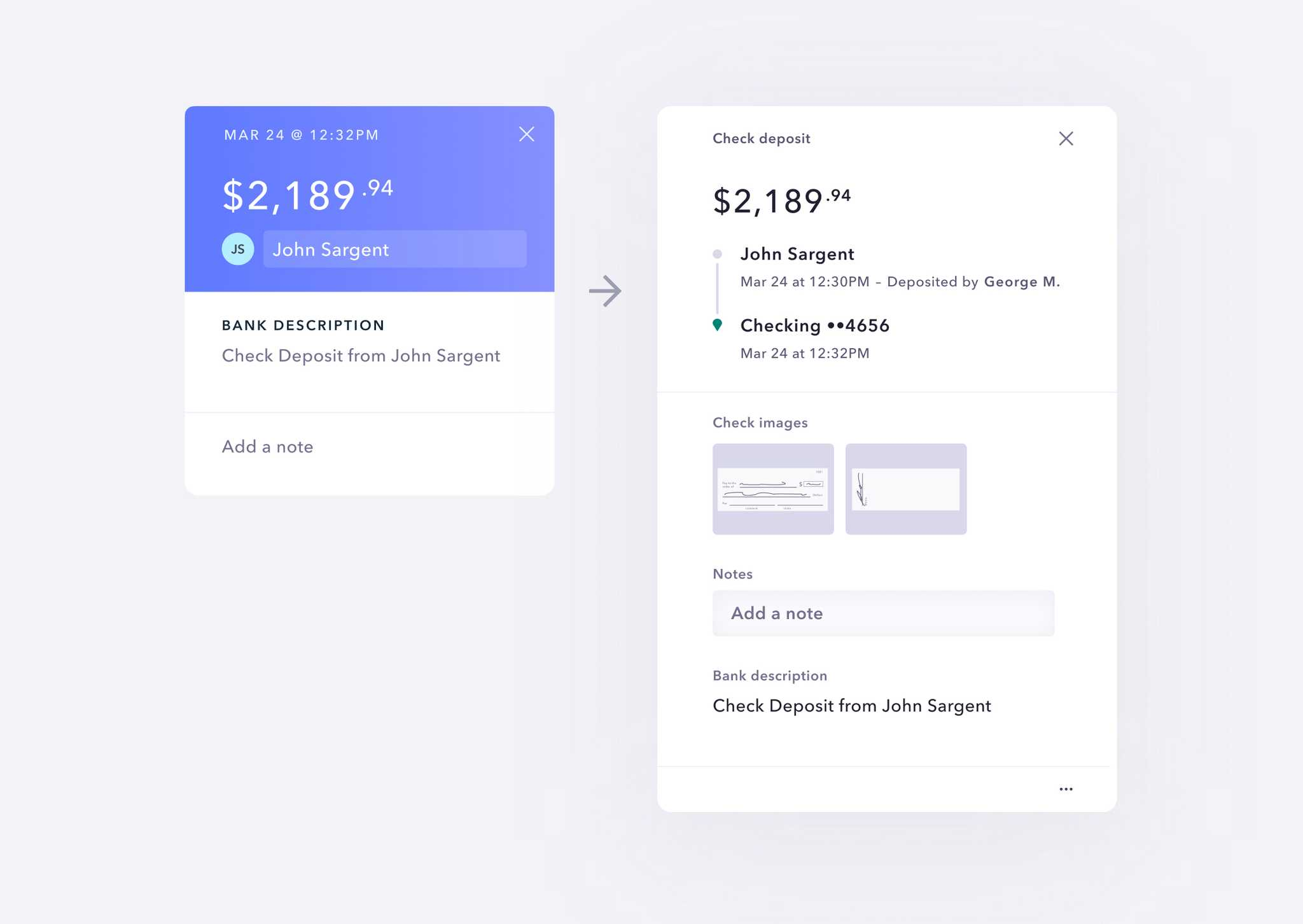 old transactions view compared with new transactions view